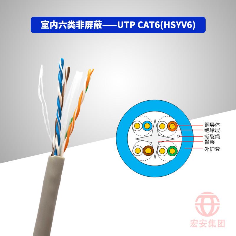 UTP CAT6(HSYV6) 室内六类非屏蔽数字通信用水平对绞对称电缆