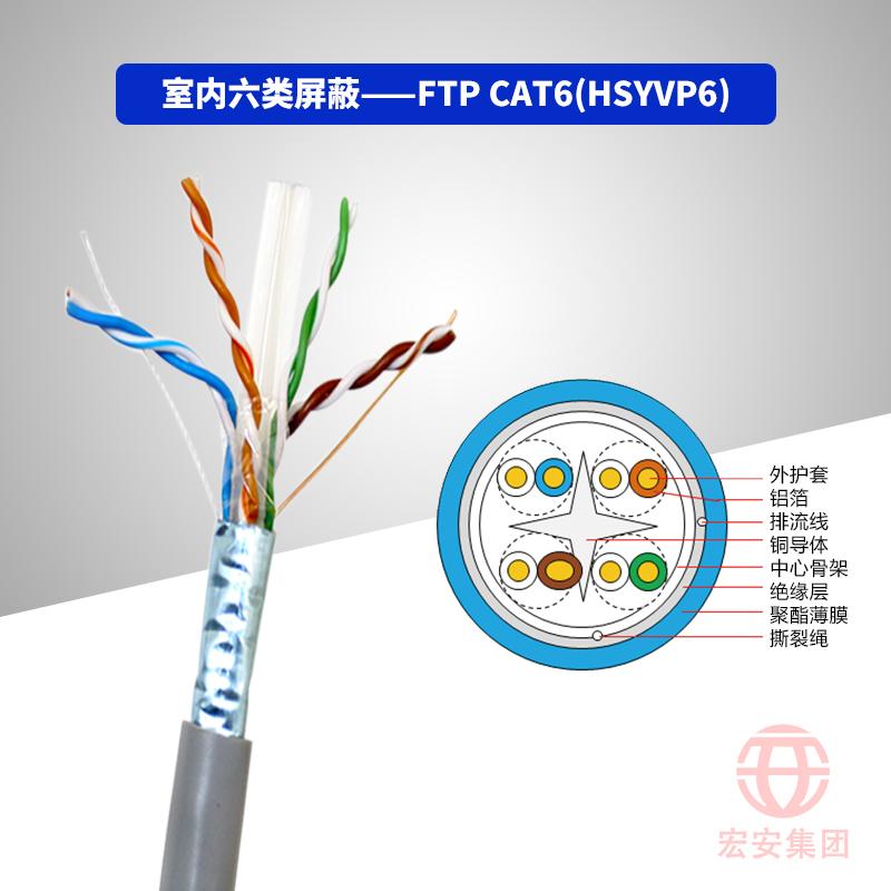 FTP CAT6(HSYVP6) 室内六类屏蔽数字通信用水平对绞对称电缆