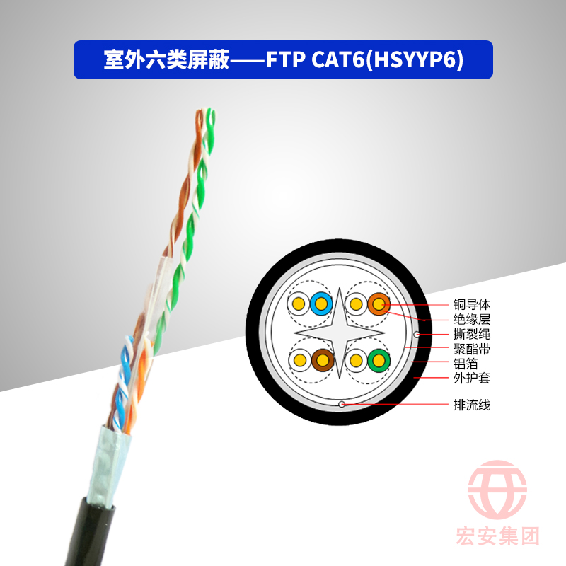 FTP CAT6(HSYYP6、HSYVYP6) 室外六类屏蔽数字通信用水平对绞对称电缆